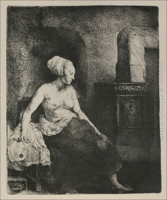A Woman Seated Before A Dutch Stove 1658