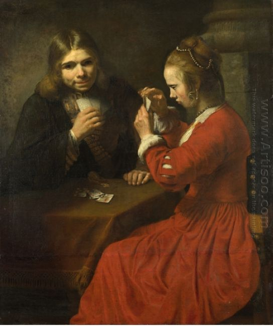 A Young Man And A Girl Playing Cards