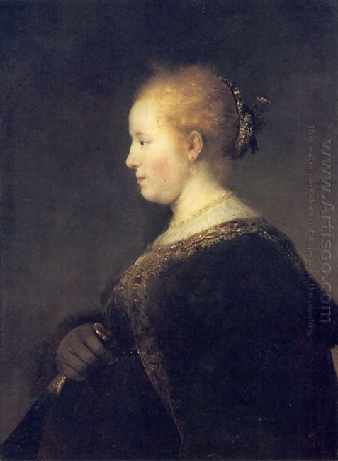 A Young Woman In Profile With A Fan 1632