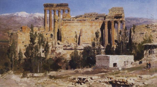 Baalbek Ruins Of Jupiter Cathedral And Cathedral Of Sun 1882