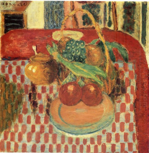 Basket And Plate Of Fruit On A Red Checkered Tablecloth