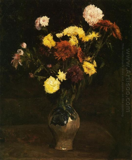 Basket Of Carnations And Zinnias 1886