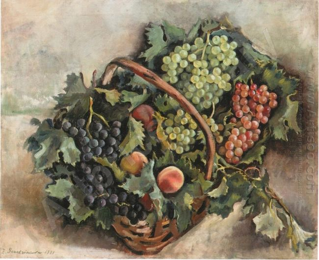 Basket With Grapes And Peaches 1931
