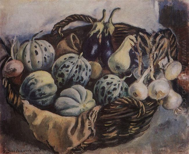 Basket With Melons And Squash 1938