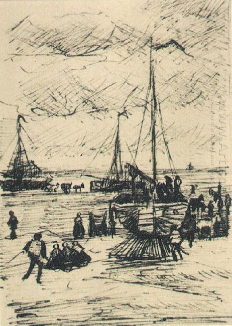 Beach And Boats 1882