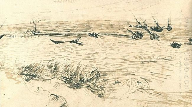 Beach Sea And Fishing Boats 1888