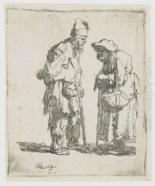 Beggar Man And Beggar Woman Conversing 1630