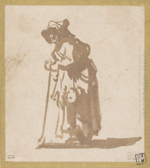 Beggar Woman Leaning On A Stick 1630