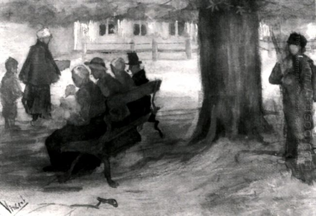 Bench With Four Persons And Baby 1882