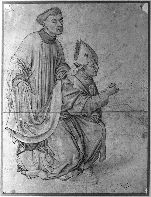 Bishop Kneeling In Profile Swinging A Censer Accompanied By A Cl