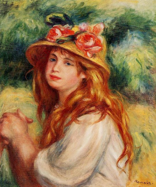 Blond In A Straw Hat Seated Girl