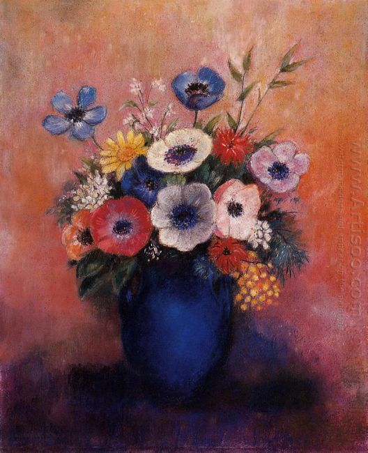 Bouquet Of Flowers In A Blue Vase 1