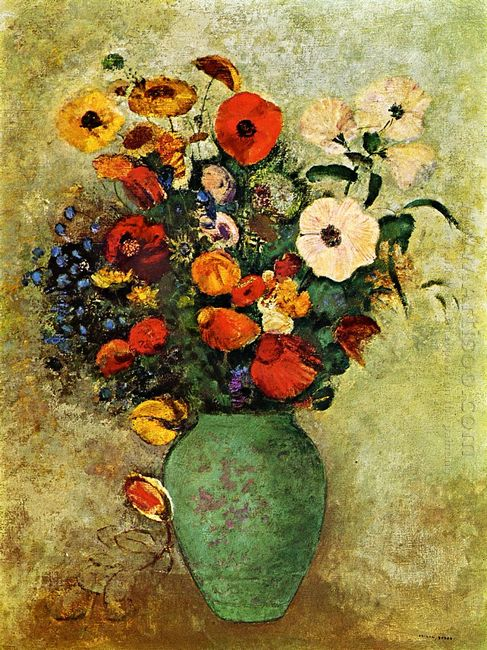 Bouquet Of Flowers In A Green Vase