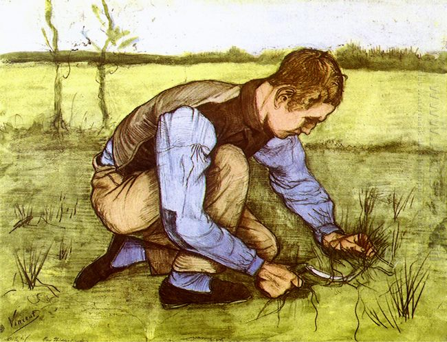 Boy Cutting Grass With A Sickle 1881