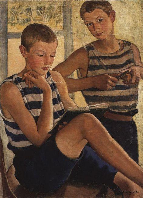 Boys In Sailor S Striped Vests 1919