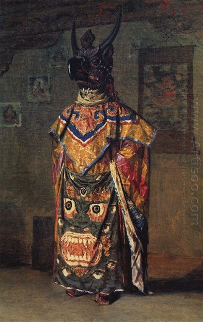 Buddhist Lama In A Monastery On A Holiday Pemionchi Sikkim 1875