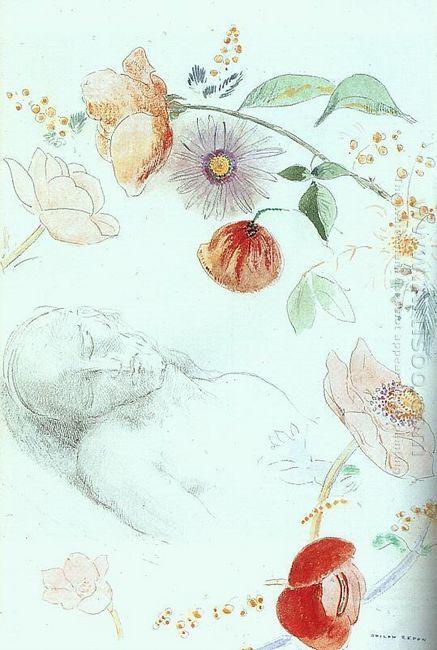 Bust Of A Man Asleep Amid Flowers