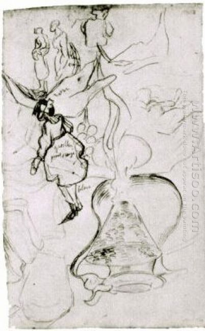 Can Books Wineglass Bread And Arum Sketch Of Two Women And A Gir