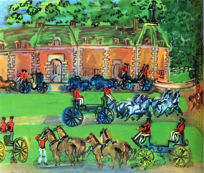 Chateau And Horses 1930