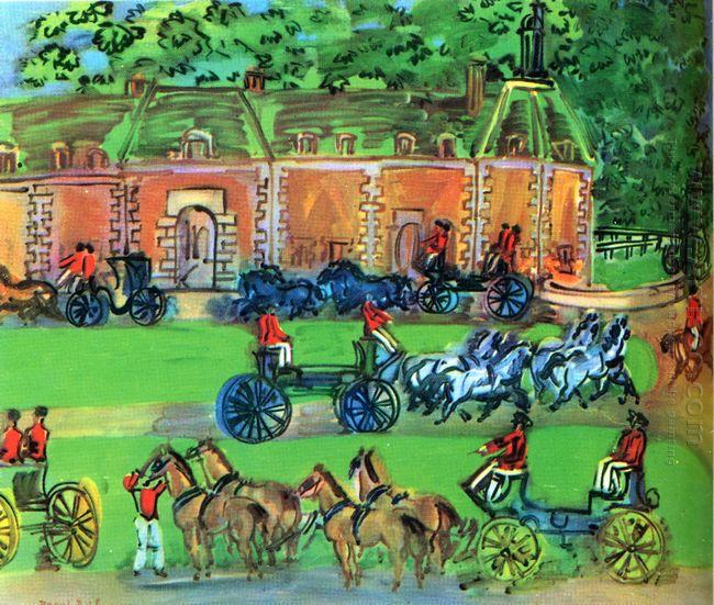 Chateau And Horses 1930