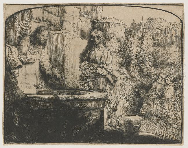 Christ And The Woman Of Samaria An Arched Print 1658