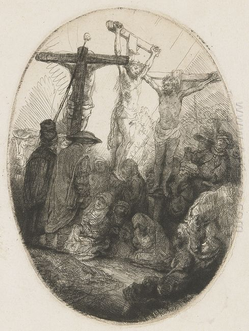 Christ Crucified Between The Two Thieves An Oval Plate 1641