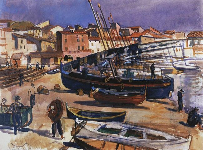 Collioure Port With Boats 1930