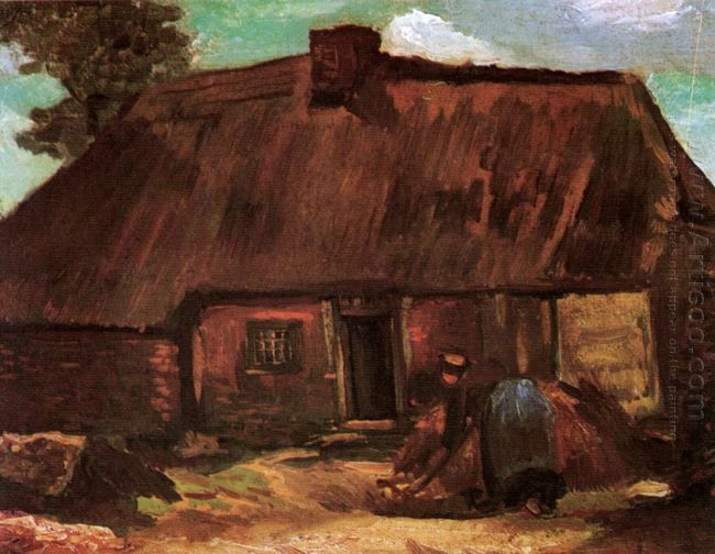Cottage With Peasant Woman Digging 1885