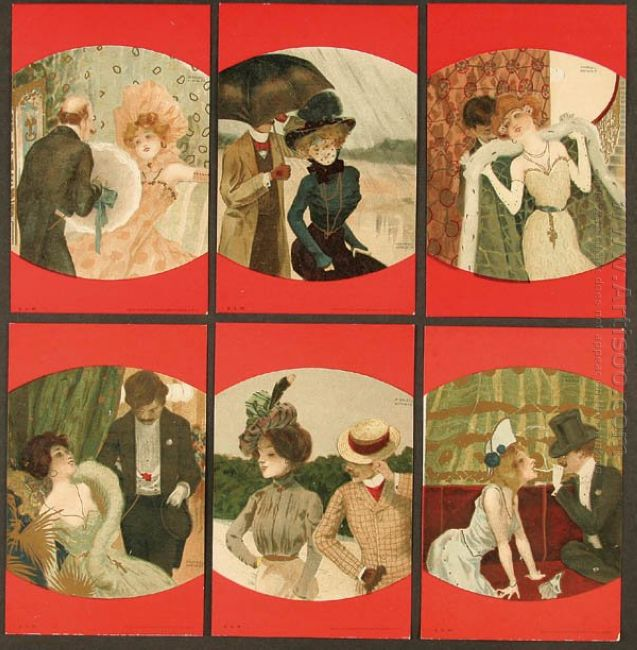 Couples Between Red Borders 1901