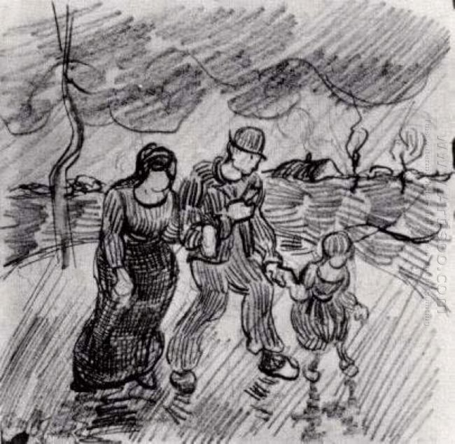 Couple Walking Arm In Arm With A Child In The Rain 1890