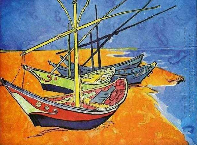 Fishing Boats On The Beach At Saintes Maries De La Mer 1888