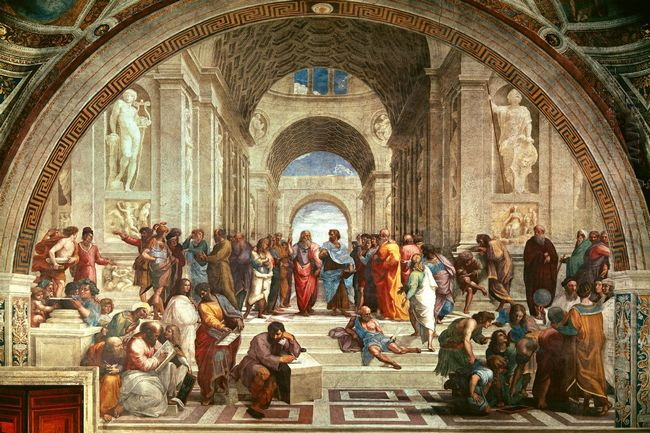 School Of Athens Detail From Right Hand Side Showing Diogenes On