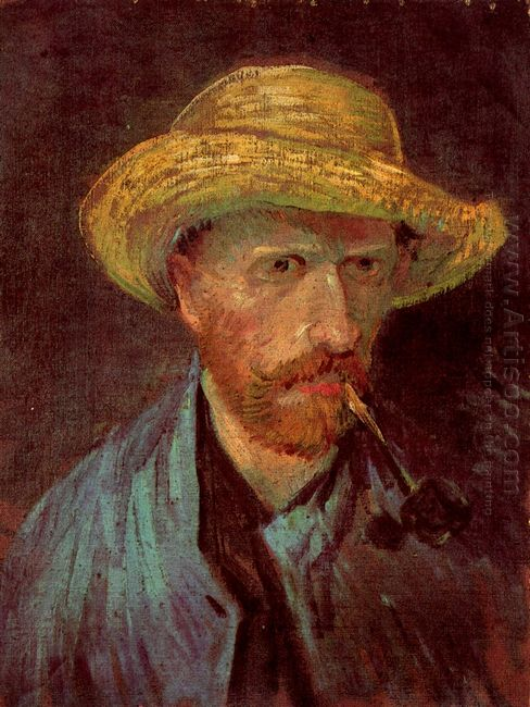 Self Portrait with Straw Hat and Pipe 1887