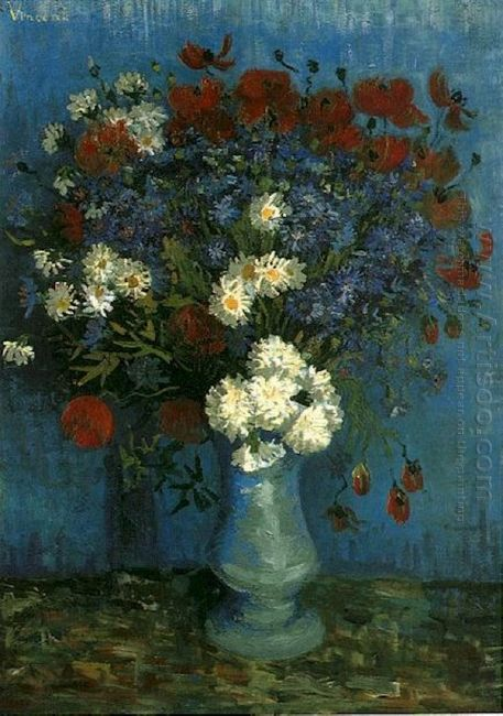 Still Life Vase With Cornflowers And Poppies 1887