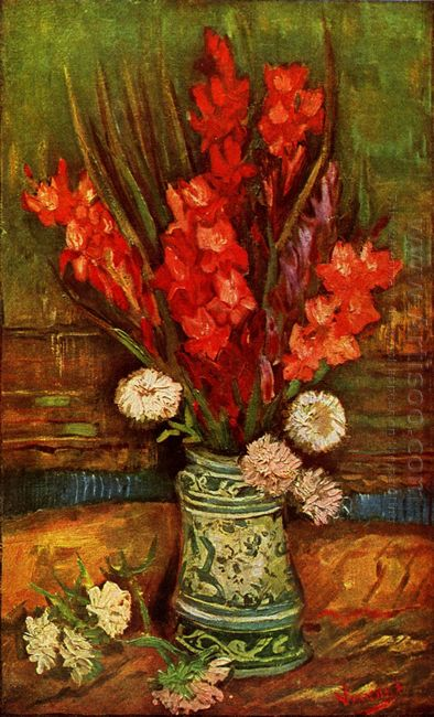 Still Life Vase With Red Gladiolas 1886