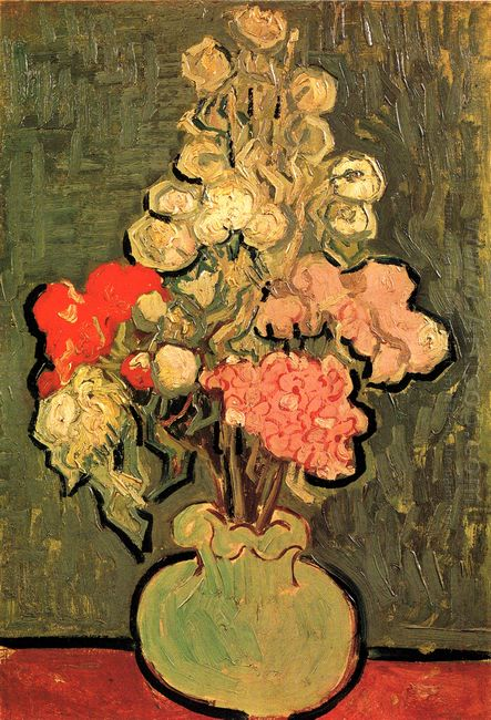 Still Life Vase With Rose Mallows 1890