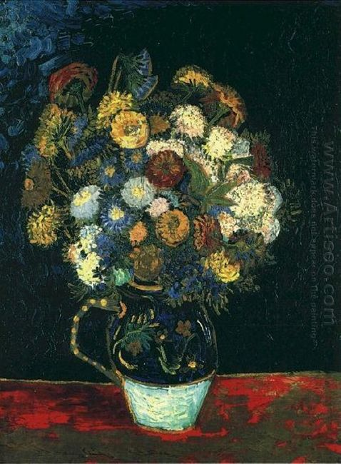 Still Life Vase With Zinnias 1888
