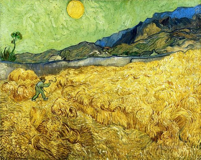 Wheat Field With Reaper And Sun 1889