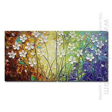 Hand-painted Abstract Oil Painting - Set of 2
