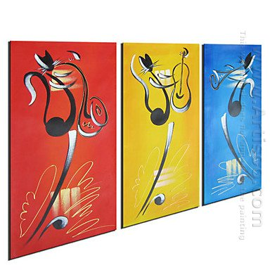Animali dipinte a mano pittura a olio set di 3 tele a for Tele astratte dipinte a mano