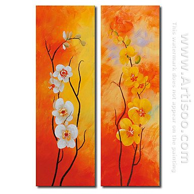 Hand-painted Floral Oil Painting - Set of 2