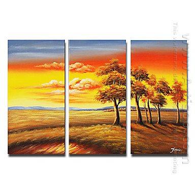 Pintados a mano paisaje pintura al leo juego de 3 - Paisaje con colores calidos ...