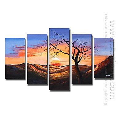 Pintados a mano pintura al leo del paisaje juego de 5 for Imagenes de cuadros abstractos faciles