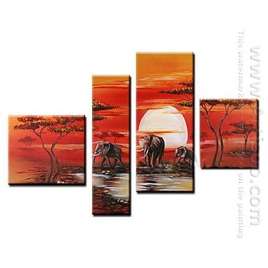 Hand-painted Oil Painting Animal Oversized Wide - Set of 4