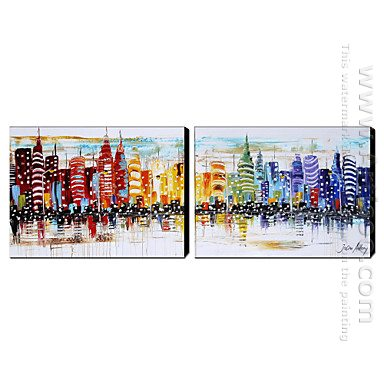 Hand Painted Oil Painting Architecture Wide - Set of 2