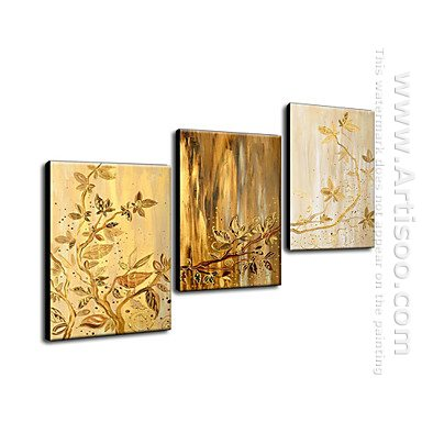 Hand Painted Oil Painting Floral Golden leaves - Set of 3 1211-F
