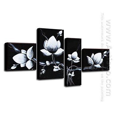 Hand Painted Oil Painting Floral - Set of 4