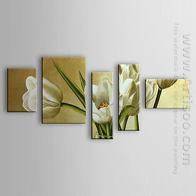 Hand Painted Oil Painting Floral - Set of 5