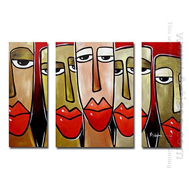 Hand-painted Oil Painting People Oversized Wide - Set of 3