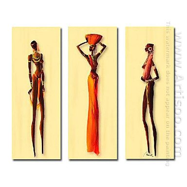 Tangan-Dicat Orang Oil Painting - Set 3